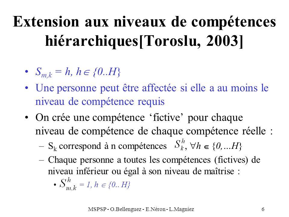 Extension aux niveaux de compétences hiérarchiques[Toroslu, 2003]